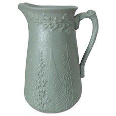 "Antique 19th C. W. Ridgway & Co. Green Salt Glaze Fern & Foxglove Pitcher, 6-1/2""H"