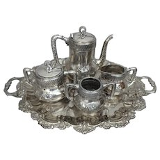Jaccard's Victorian Aesthetic Movement Silverplate Tea Set on Footed Butler's Tray