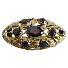 "Sterling Silver Gold Vermeil Brooch Pin with Faceted Garnets. 1-7/8"" by 1"""