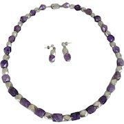 Vintage Taxco Mexico Sterling Silver and Amethyst Bead Necklace & Earrings Demi-Parure