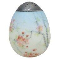 19th C. Mount Washington Egg Hand Painted Apple Blossom Sugar Shaker / Caster
