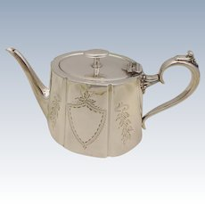 Antique Engraved Deykin & Harrison English Georgian Style Silverplated Teapot