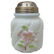 Antique Northwood Basketweave Apple Blossom Swirl Milk Glass Sugar Shaker Caster