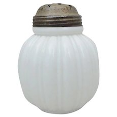 Antique Consolidated Glass Melligo Ribbed Milk Glass Sugar Shaker Caster Muffineer - Red Tag Sale Item