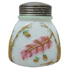 Antique Northwood Netted Oak Painted Milk Glass Basketweave Sugar Shaker Caster