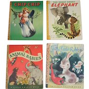 4 Little Golden Books Chip Chip, Saggy Baggy Elephant, Lively Little Rabbit with Dust Jacket