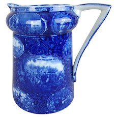 """Rowland & Marsellus Discovery of America Flow Blue Pitcher, 7-1/2""""H"""