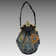 Embroidered & Beaded Bag Pansy Flower Purse with Carved Celluloid Frame