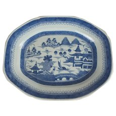Large Chinese Export Porcelain Blue & White Canton Platter