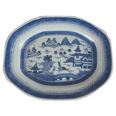 Large Chinese Export Porcelain Blue & White Canton Platter
