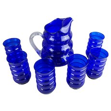 Louie Glass Harpo Cobalt Blue Glass Pitcher & 6 Tumblers