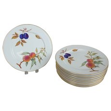 10 Royal Worcester Evesham Peach & Plum Fruit Decorated Dinner Plates - Red Tag Sale Item