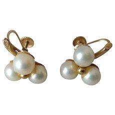 Pair of Vintage 14K Gold & Cultured Pearl Earrings