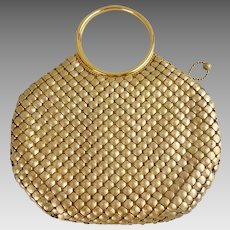 Vintage Whiting & Davis Round Gold Metallic Mesh Bracelet Purse
