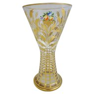 "Bohemian Glass Gilt Decorated and Hand Painted Enameled Vase, 8-1/2""H"