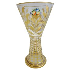 """Bohemian Glass Gilt Decorated and Hand Painted Enameled Vase, 8-1/2""""H"""