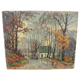 """Signed Jacob I. Greenleaf Oil Painting """"Late Afternoon"""", Listed Rockport, MA Artist"""