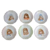6 Victorian Porcelain Little Girl Dessert Plates, 5-5/8""