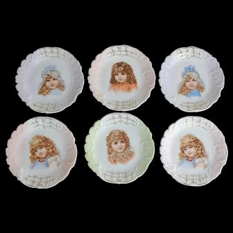 "6 Victorian Porcelain Little Girl Dessert Plates, 5-5/8"""