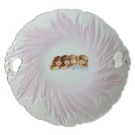 Victorian Porcelain 4 Little Girls Handled Cake Plate