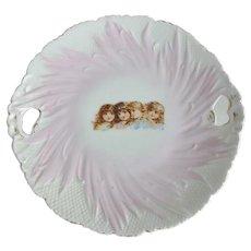 Victorian Porcelain 4 Little Girls Handled Cake Plate