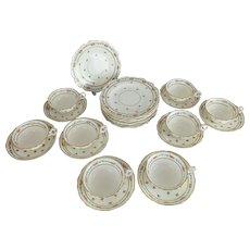 Set of 8 Antique Cauldon English Porcelain Dessert Plates, Cups & Saucers
