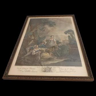 """Circa 1900 Hand Colored French Engraving """"la Peche"""""""