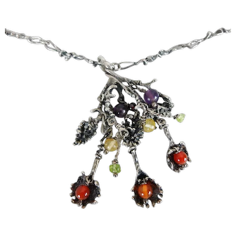 Unique Artisan Hand Crafted Silver & Glass Bead Abstract Necklace