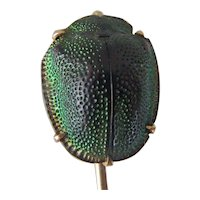 Egyptian Revival 10K Gold Scarab Real Green Beetle Stick Pin