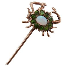 Victorian 10K Gold Opal & Emerald Crab Stick Pin