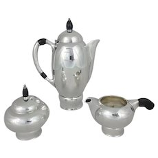 3 Piece Pairpoint Silverplate Art Deco Coffee Pot, Sugar Bowl & Creamer Set