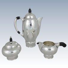 3 Piece Pairpoint Silverplate Art Deco Coffee Pot, Sugar Bowl & Creamer Set