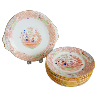 Chinoiserie Polychrome Pearlware Cake Plate with 8 Dessert Plates