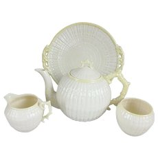 Belleek Cob Lustre Limpet Teapot Sugar Bowl, Creamer and Cake Plate Set