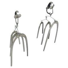 Signed Ruth Berridge Modernist Sterling Silver Kinetic Mobile Chandelier Earrings