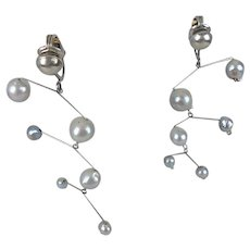 Unsigned Ruth Berridge Modernist Sterling Silver and Pearl Kinetic Mobile Chandelier Earrings