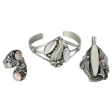 3 Piece Signed Navajo Native American Indian Sterling Silver Parure Bracelet, Pendant, Ring