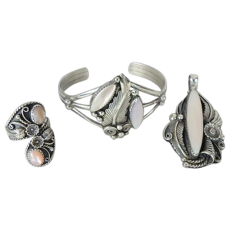 3 Piece Signed Navajo Native American Indian Sterling Silver Parure Bracelet, Pendant, Earrings