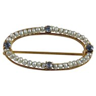 14K Gold Seed Pearl and Tanzanite Oval Pin