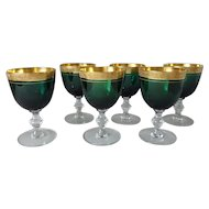 6 Emerald Green Elegant Depression Wine Glasses with Gold Band Rim