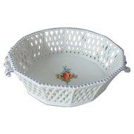Nymphenburg Lattice Handled Bowl with Hand Painted Flowers