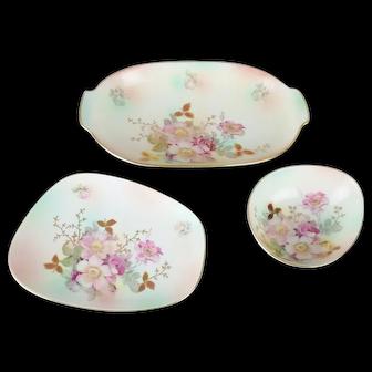 3 Schumann Arzberg Bavaria German Porcelain Wild Rose Serving Bowls & Tray