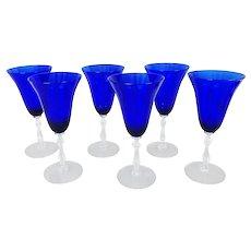 "6 Cobalt Ritz Blue Elegant Glass Wine Water Goblets Crystal Stems, 7-7/8""H"