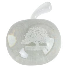 Signed Tiffany & Co. Crystal Blown Glass Apple Paperweight with Etched Tree
