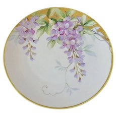 Signed Morimura Nippon Hand Painted Wisteria Charger Cabinet Plate