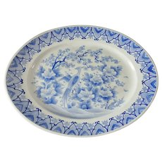 "Signed Chinese Export Blue & White 18"" Platter with Bird & Prunus Blossom"