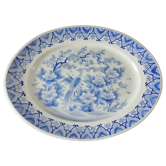 """Signed Chinese Export Blue & White 18"""" Platter with Bird & Prunus Blossom"""