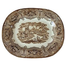 "RA Kidston & Co. Syria Pattern Brown Transferware 16"" Platter"