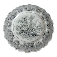 "19th C. Clews Tuscan Rose English Black Transferware 10-1/2"" Dinner Plate"