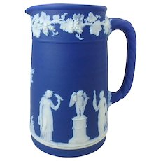 "Antique 1884 Cobalt Blue Wedgwood Jasperware Pitcher Jug, 5-1/2"" H"